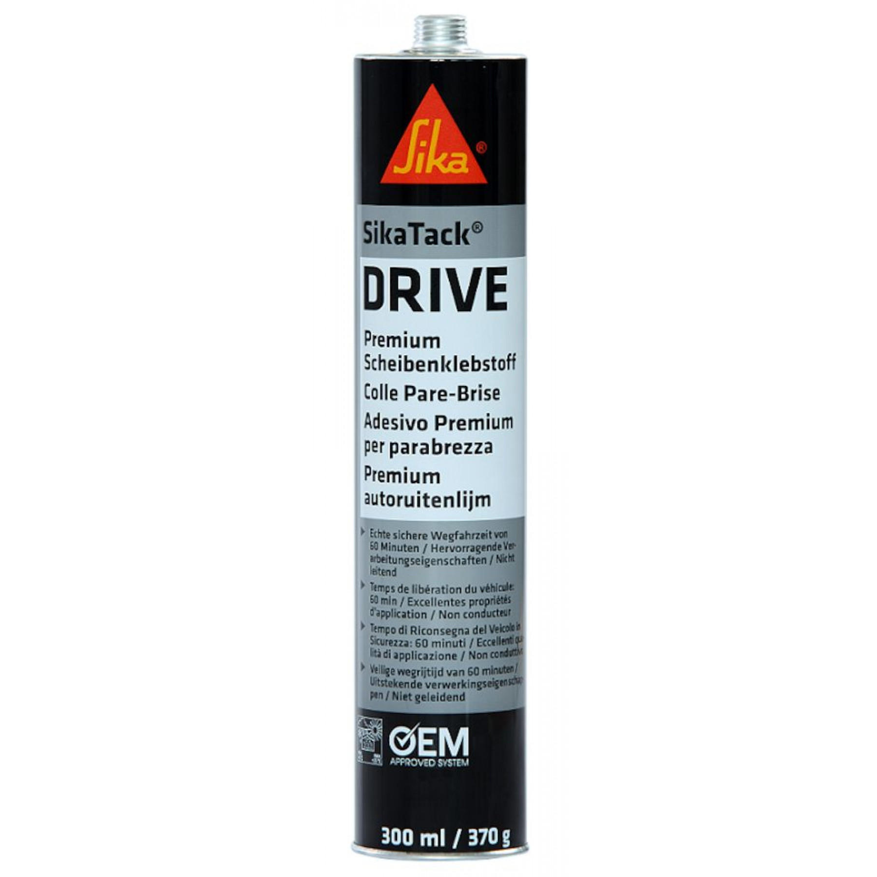 Montagelijm zwart Sikatack drive (ruitenkit) 290 ml.