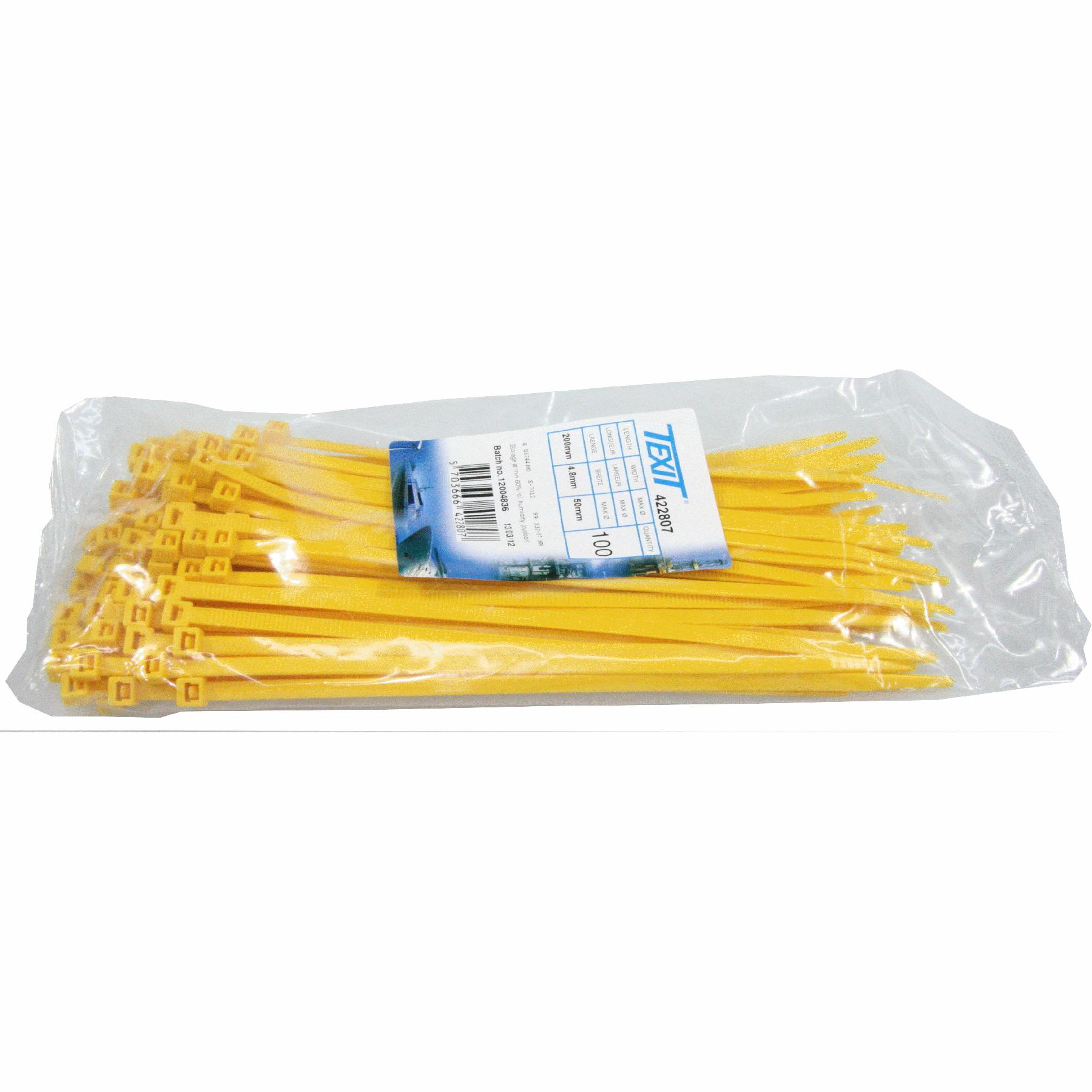 Kabelstrip 200x4,8 geel 100st