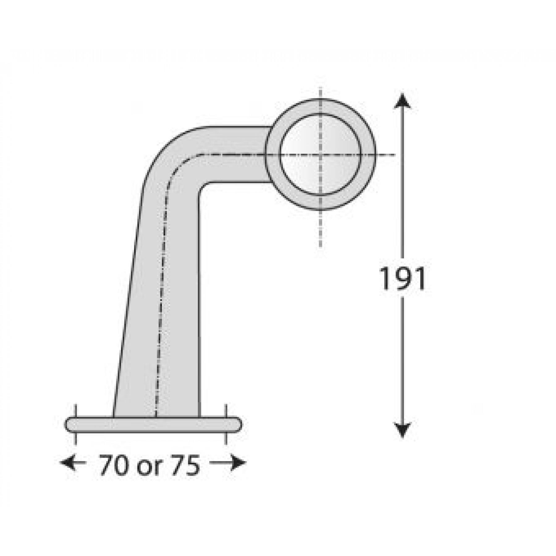 Markerings-breedtelamp LED Rubber zijkant lang haaks