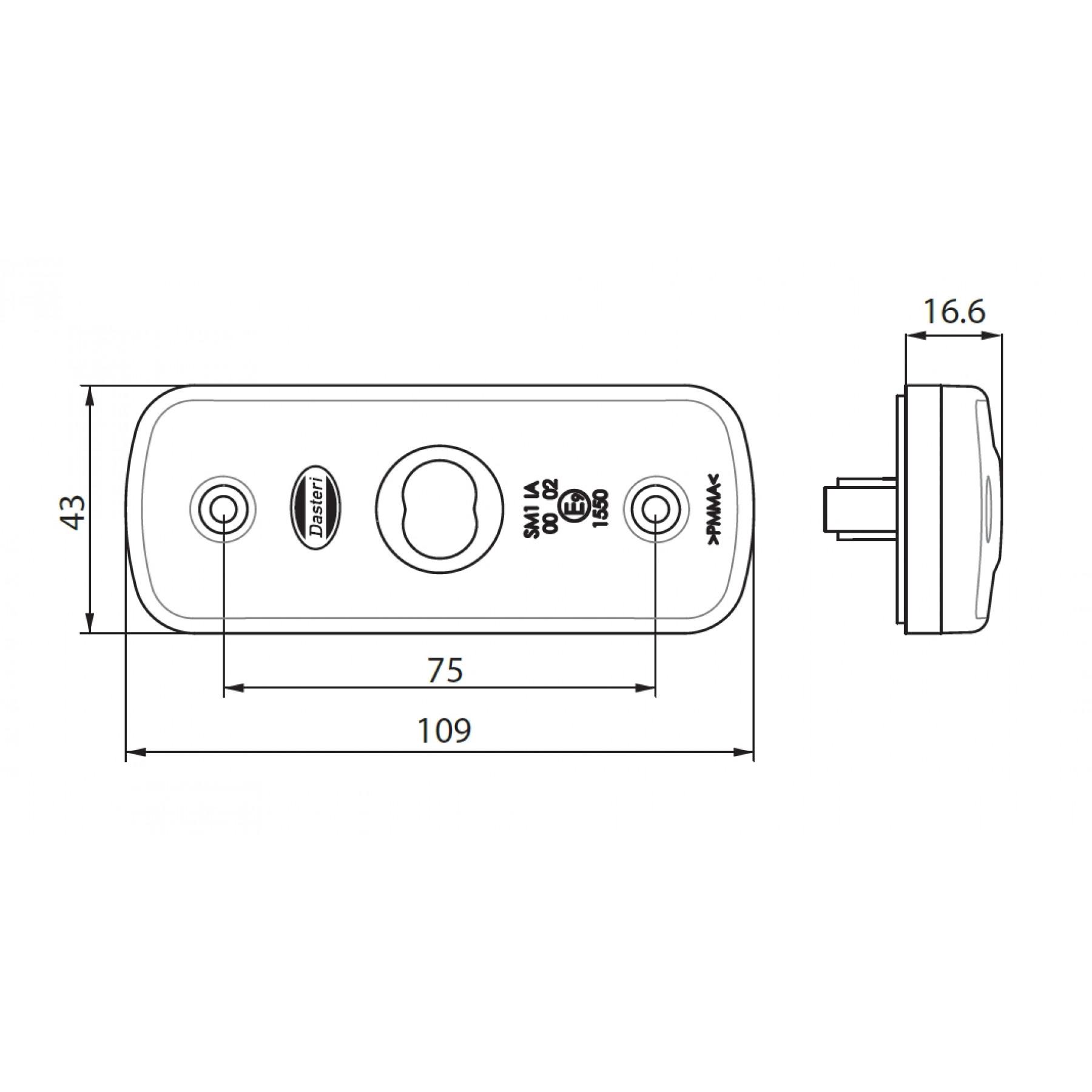 Markeringslamp LED 109x43mm wit 12/24v 1 led