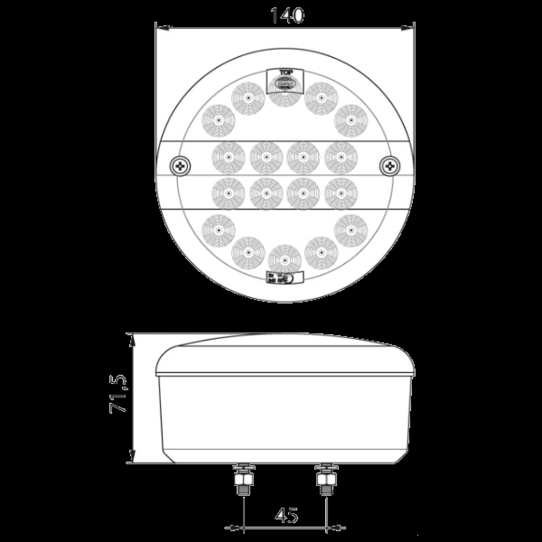 Achterlicht LED rond Ø 140mm (geribb. glas) 12/24v