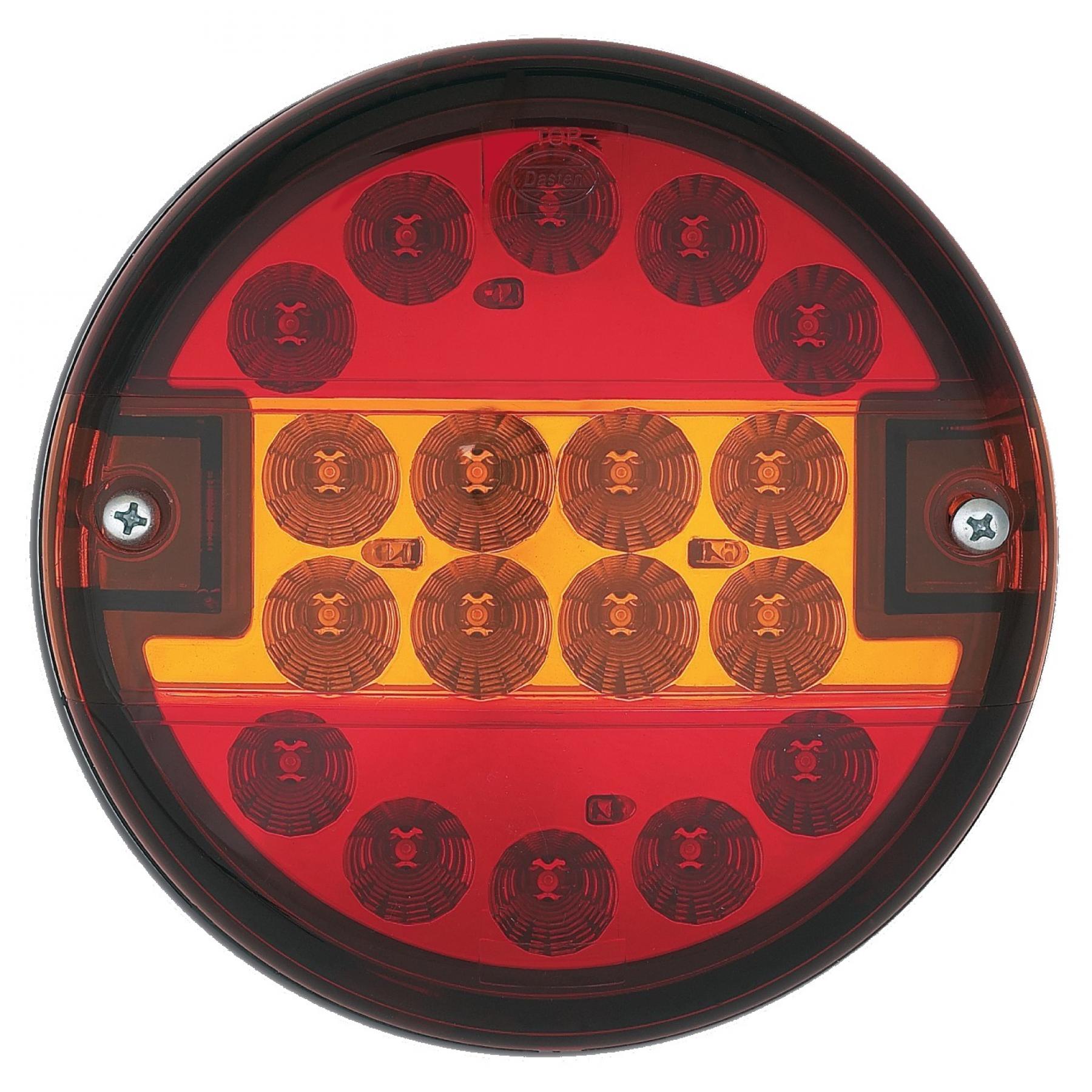 Achterlicht LED rond Ø 140mm (helder glas) 12/24v