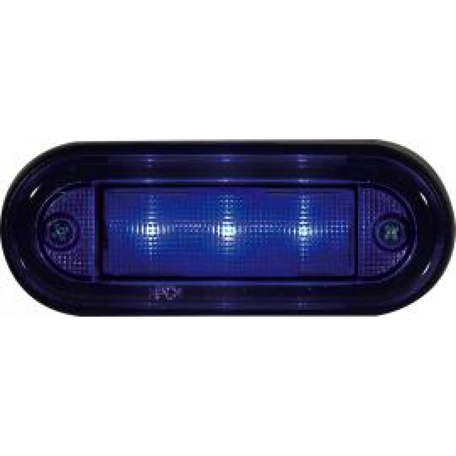 Markeringslamp LED 12/24v 89x34 blauw (wit glas) 3led