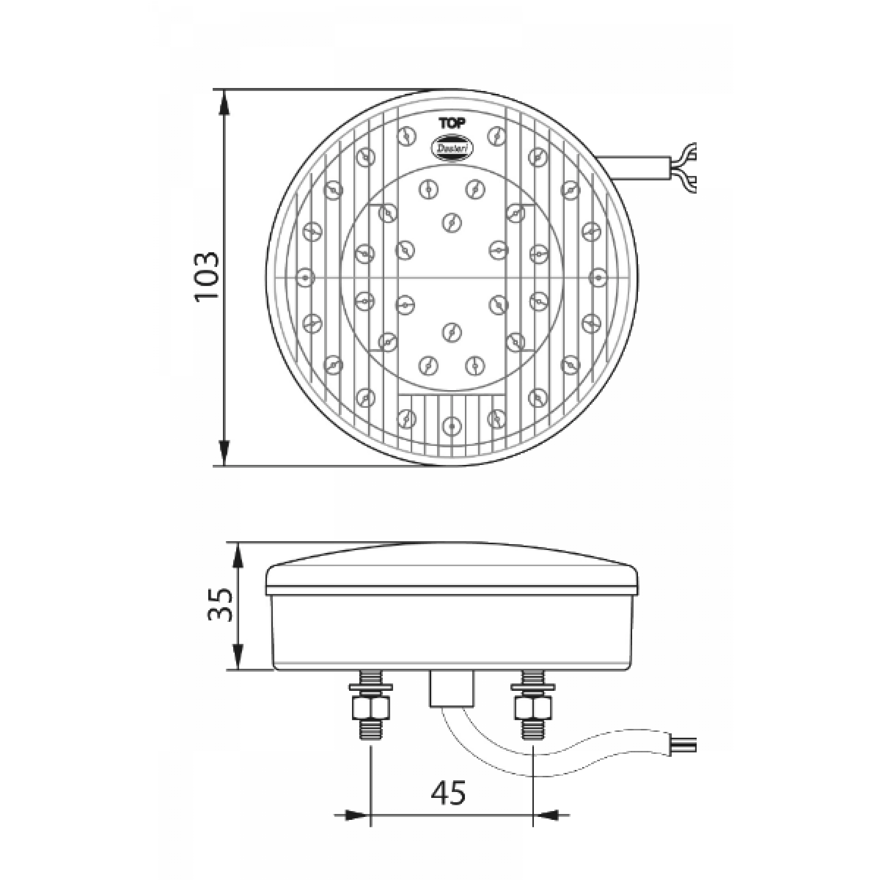 Achterlicht LED rond Ø 103mm 3 functies 24v