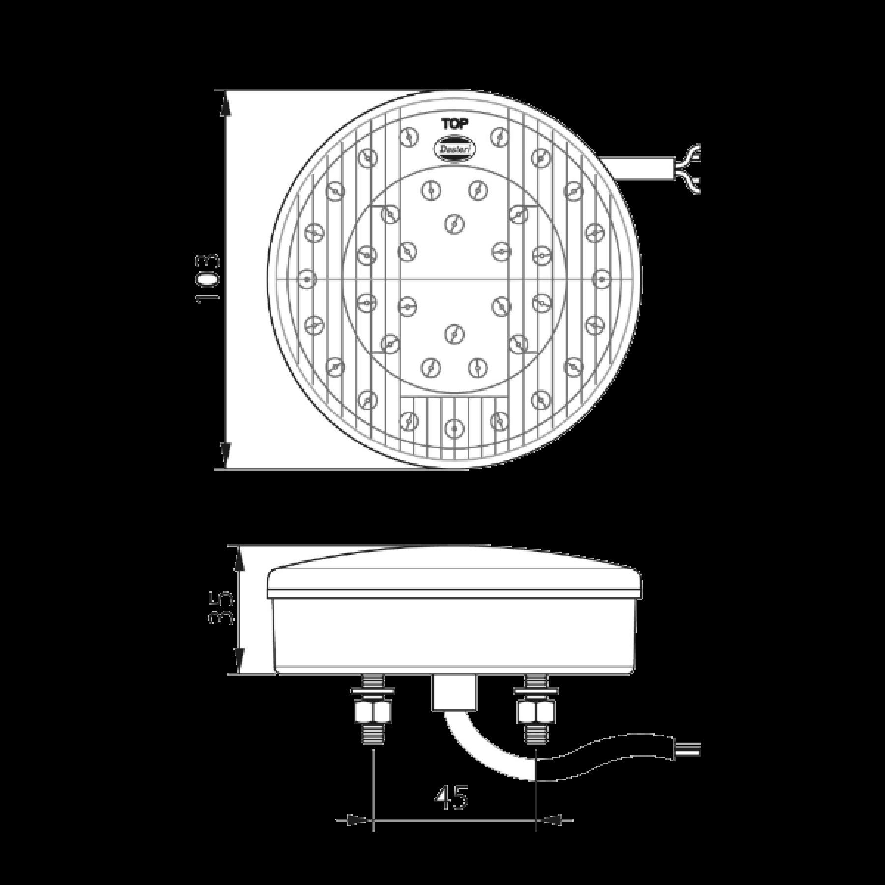 Achterlicht LED rond Ø 103mm 3 functies 12v
