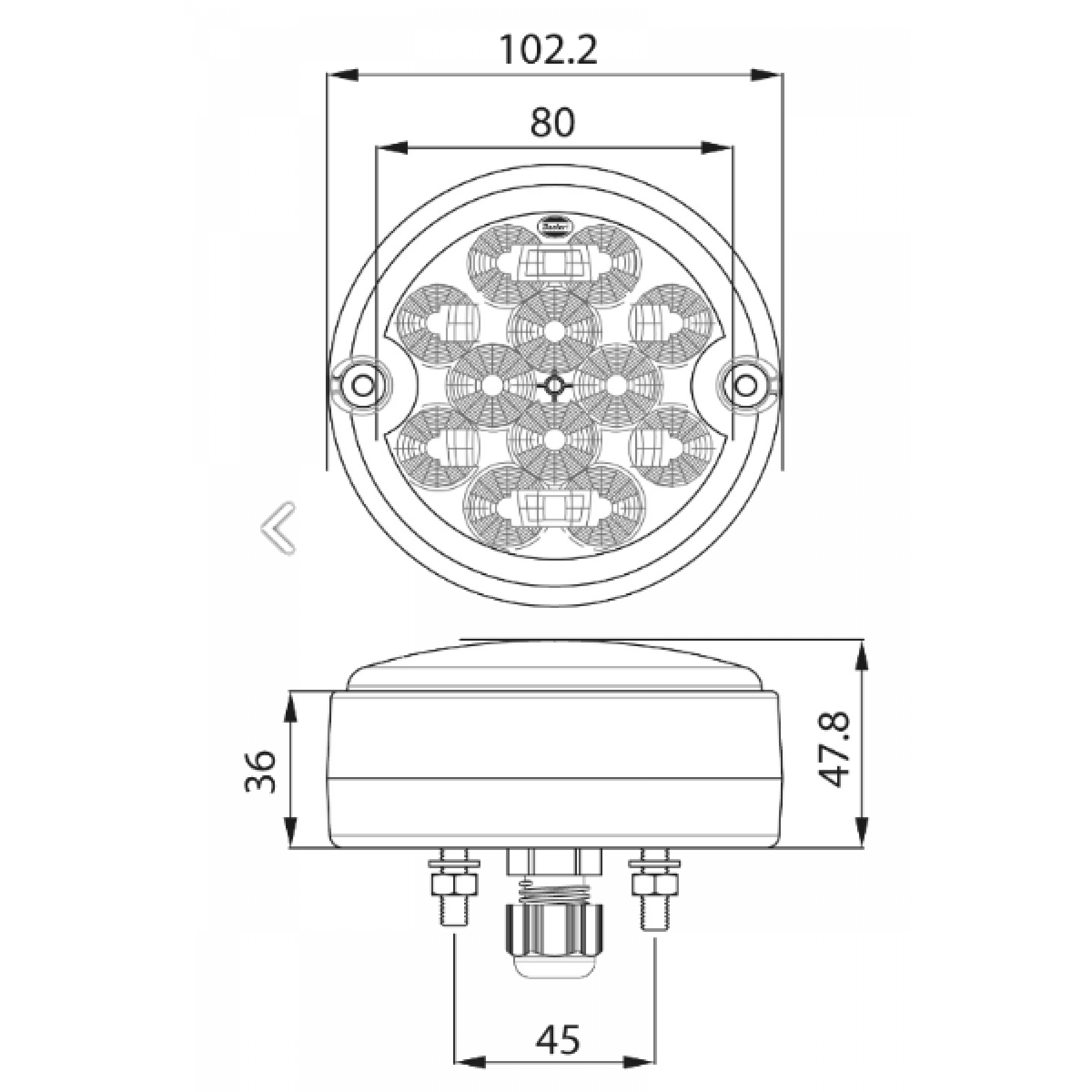 Achterlicht LED rond Ø 103mm 12/24v. 3 functies