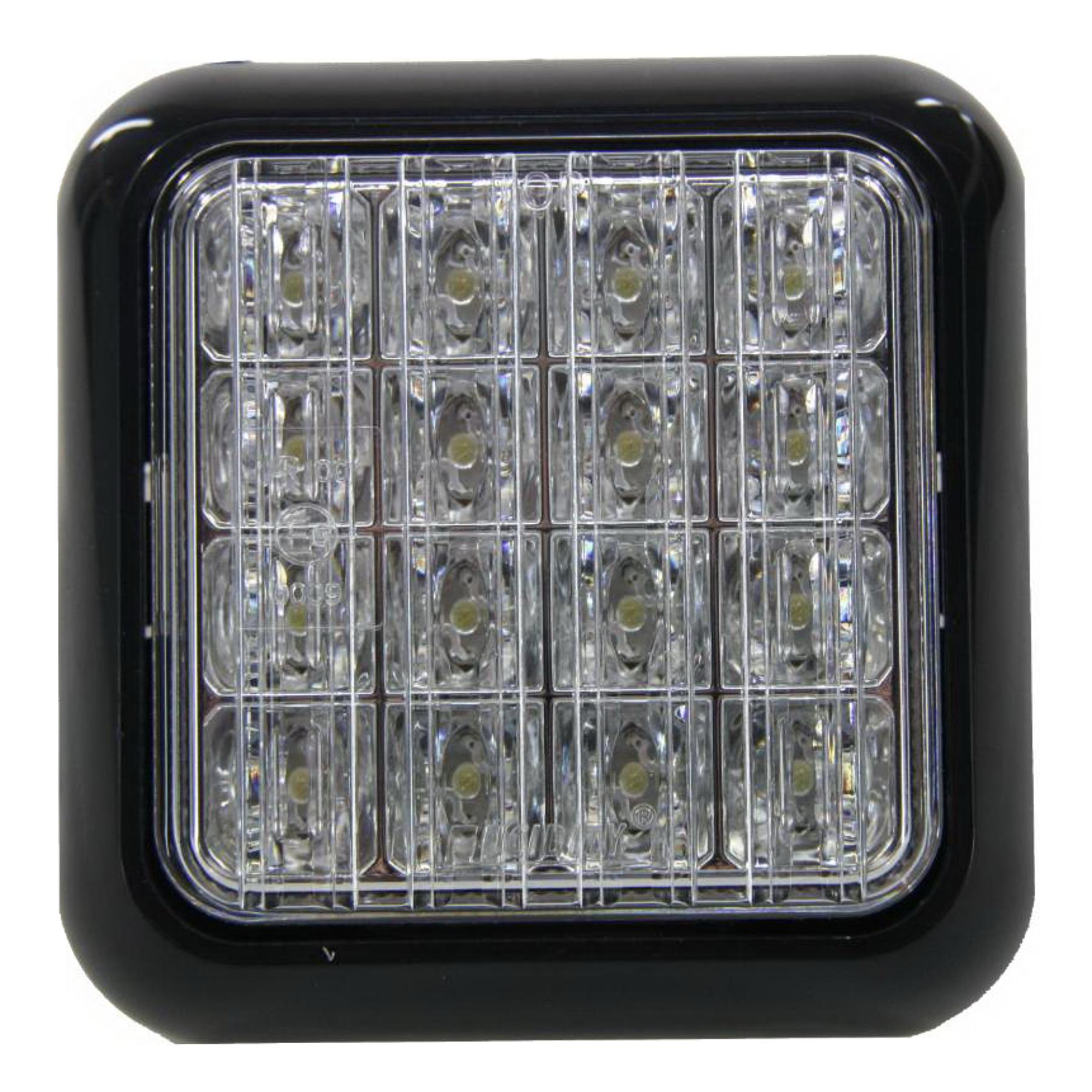 LED achteruitrijlamp 104x104 mm, 12/24V