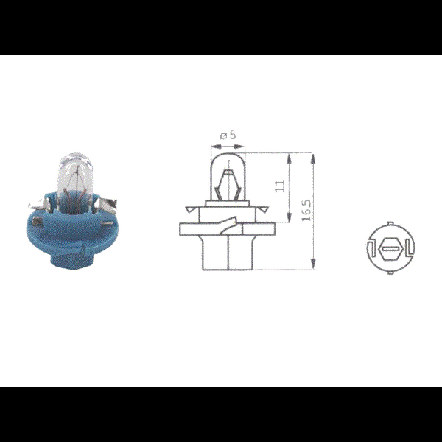 Lamp 12V 1.2W Blauw B8.4D kunststof fitting