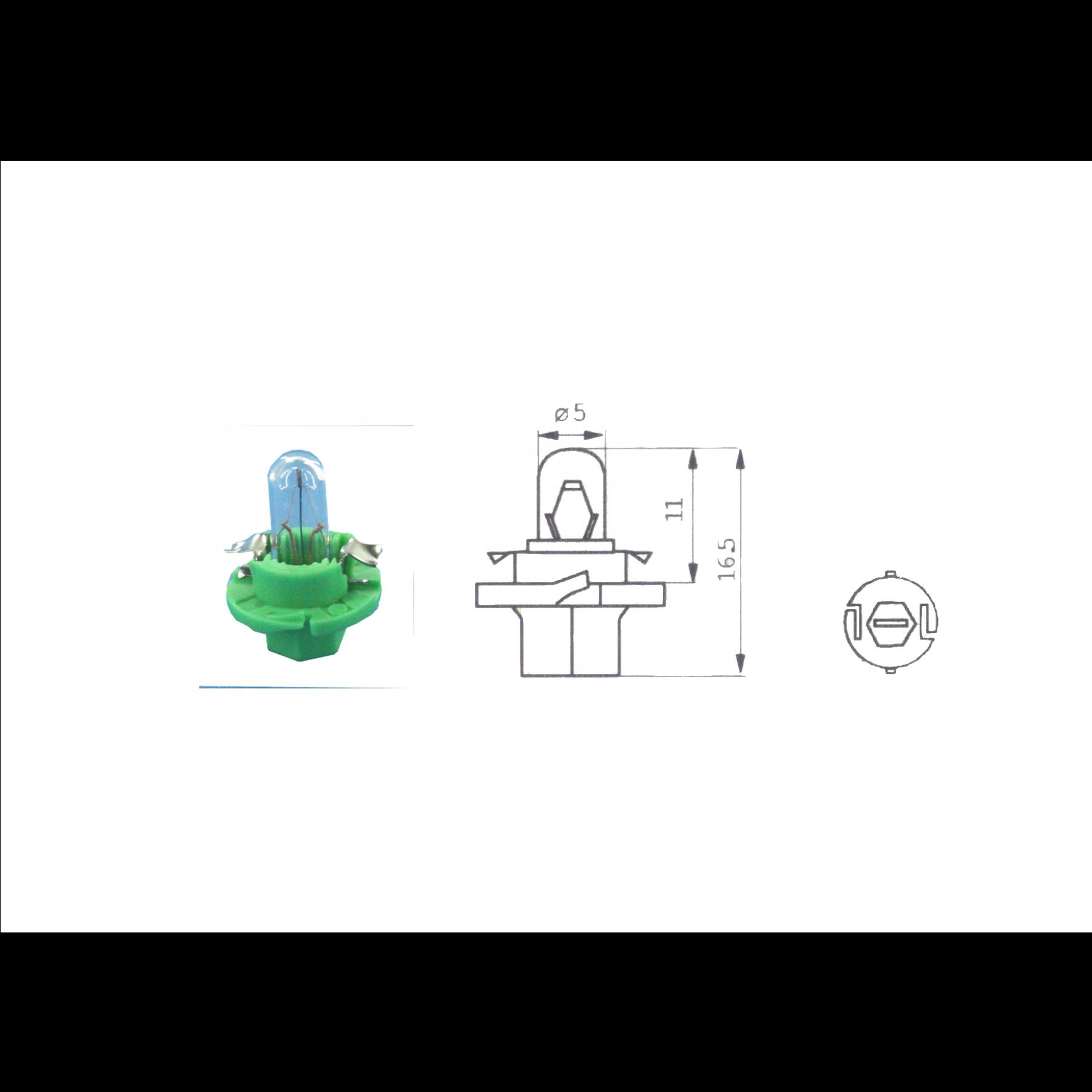 Lamp 12V 2W Mint groen BX8.4D kunststof fitting