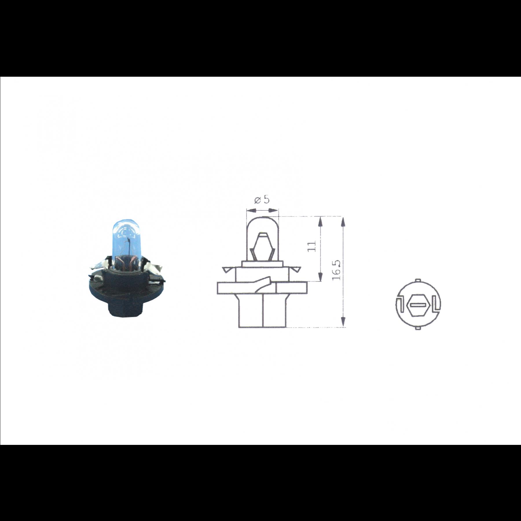 Lamp 12V 1.2W Zwart BX8.4D kunststof fitting