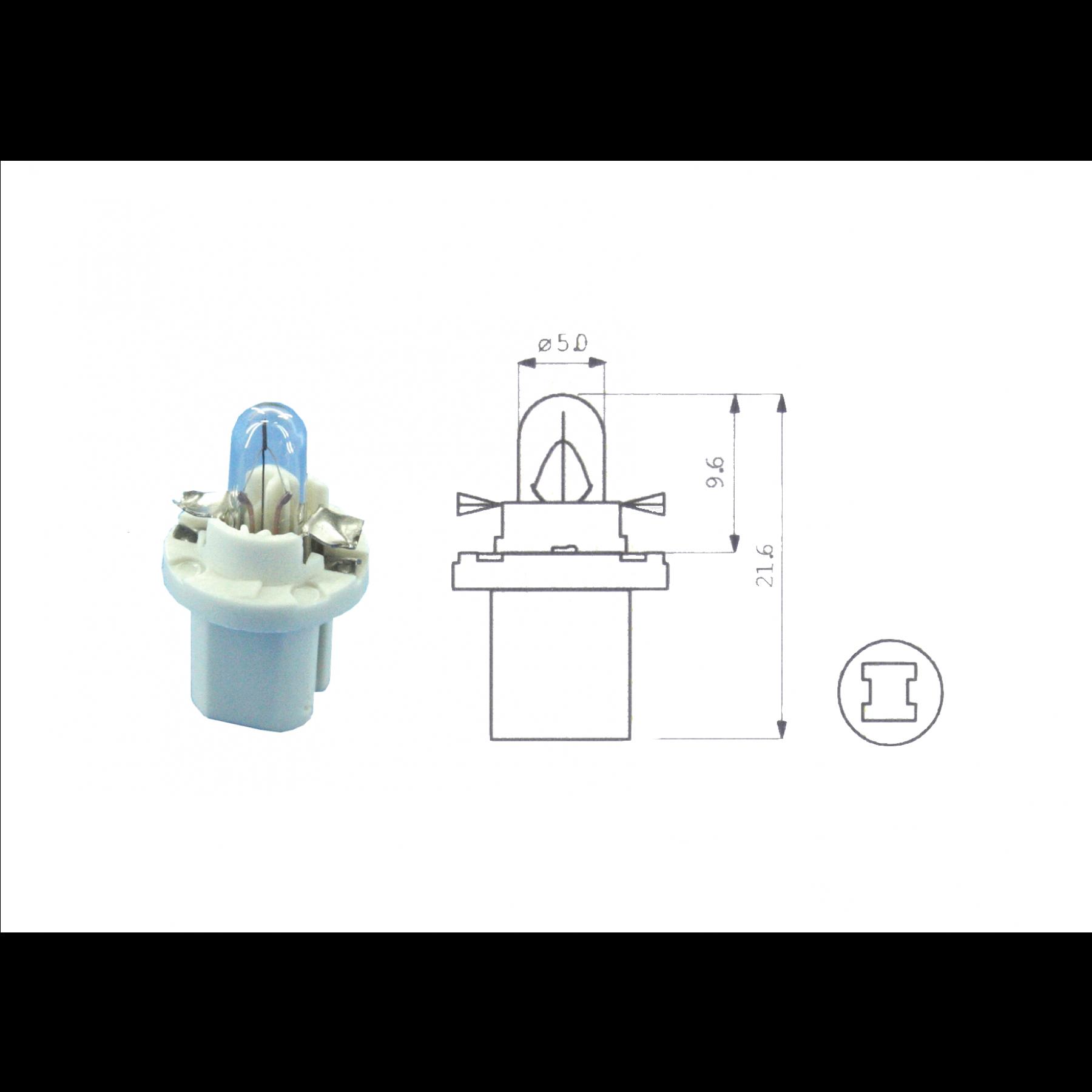Lamp 12V 1.12W Wit BX8.5D kunststof fitting