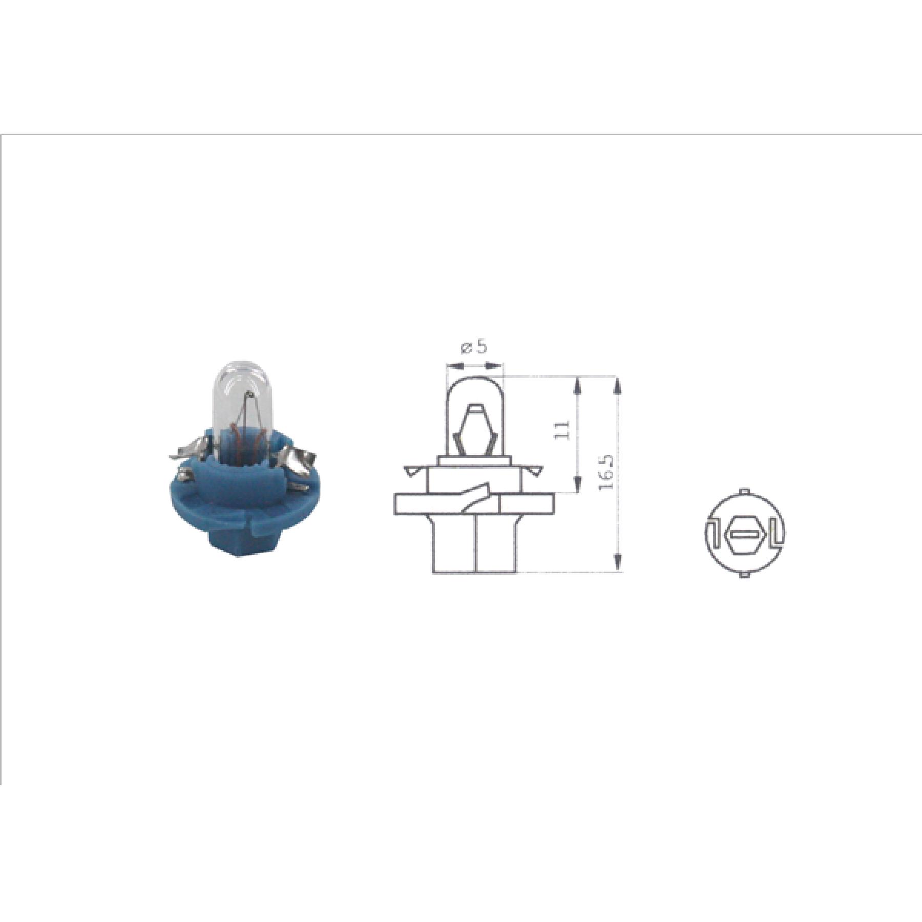 Lamp 12V 1.8W Blauw BX8.4D kunststof fitting