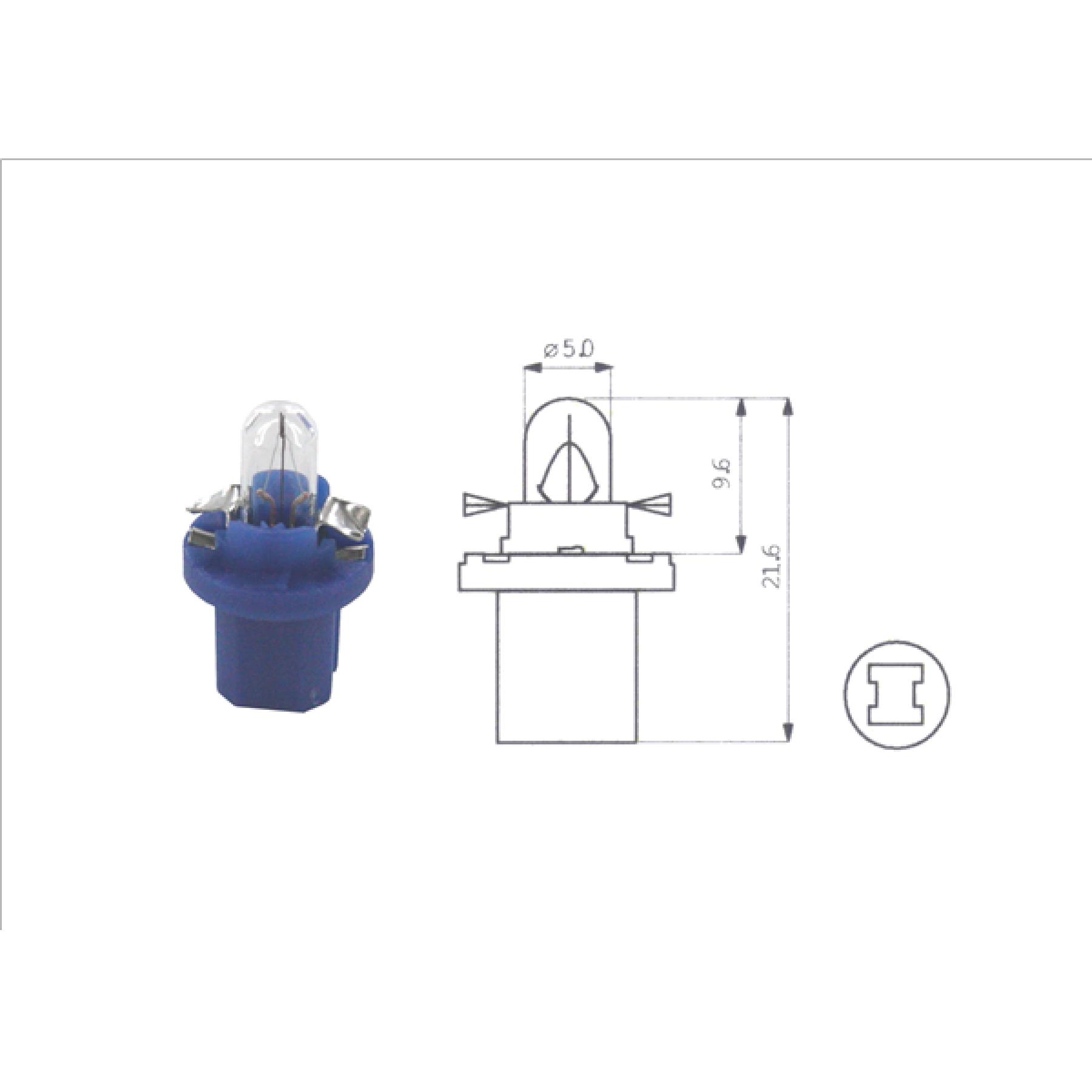 Lamp 12V 1.2W Blauw BX8.5D kunststof fitting