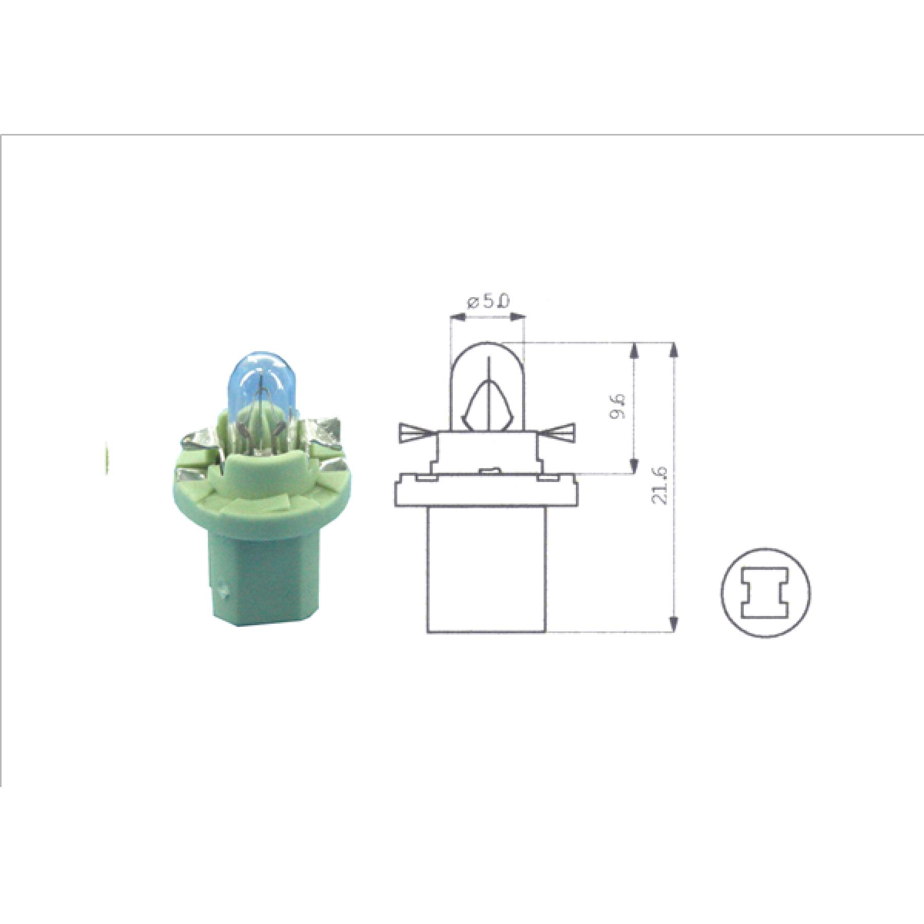 Lamp 12V 2W groen BX8.5D kunststof fitting