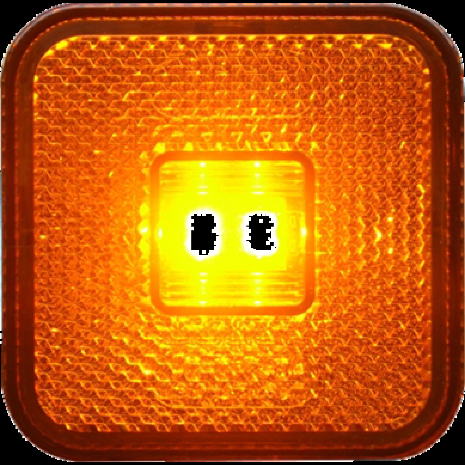 Markeringslamp LED oranje 12/24v 65x65x28