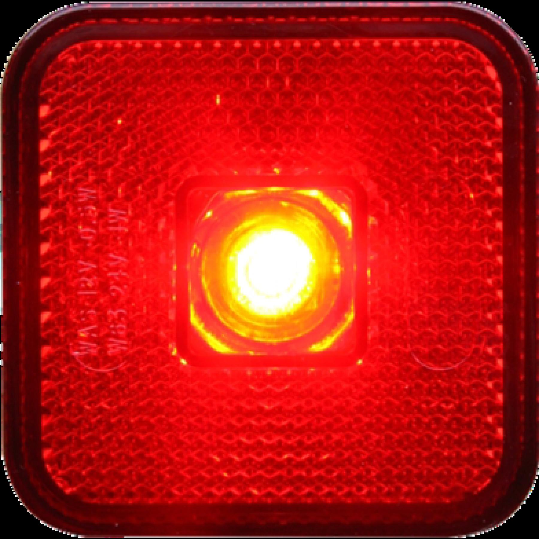 Markeringslamp LED rood 12/24v 65x65x28