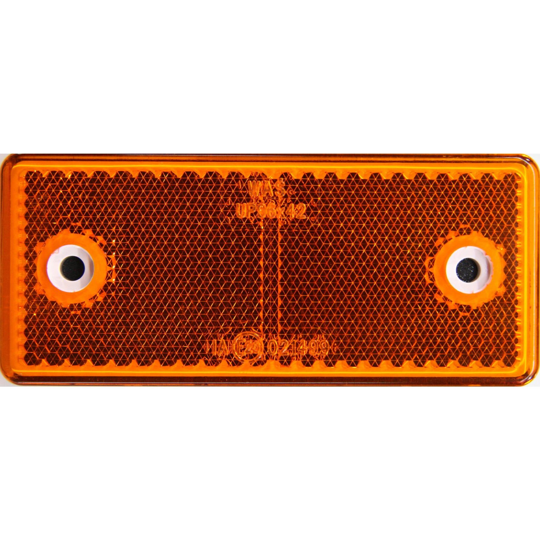 Reflector Oranje 96x42mm plak+schroef bevest.