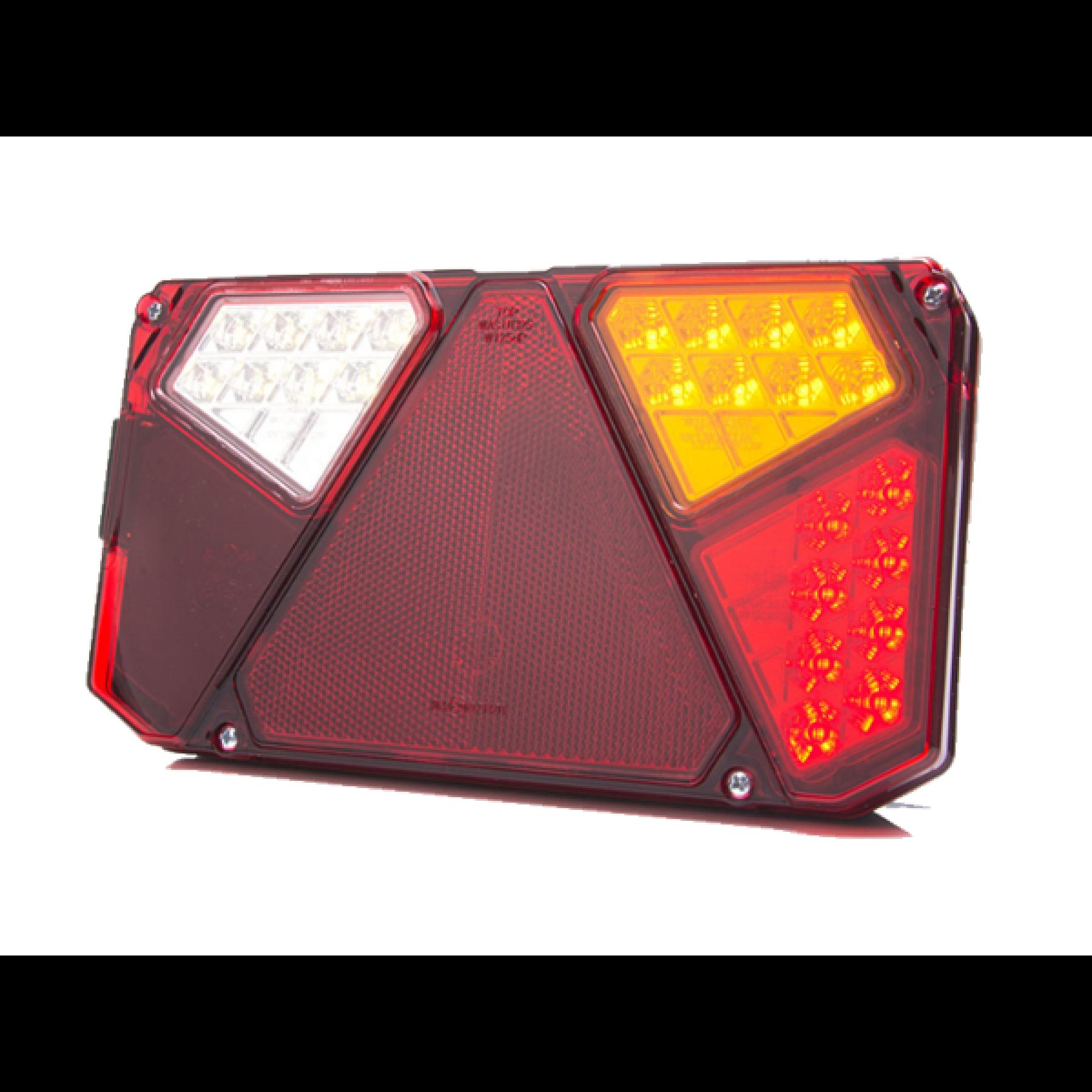 Achterlicht rechthoekig m.driehoek LED 12/24v. rechts