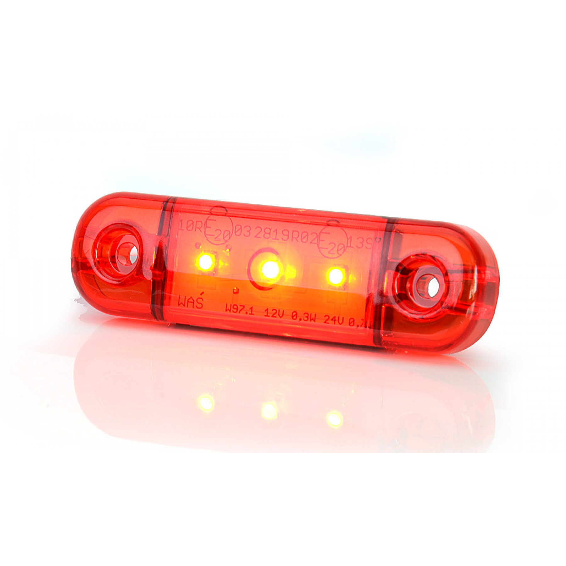 Markeringslamp LED rood 3 led 12/24v