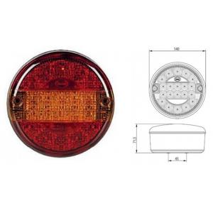 Achterlicht LED rond 140mm (geribb. glas) 12/24v