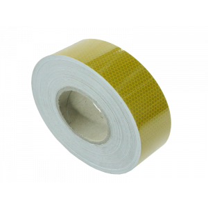 Reflecterende tape 50mm x 50mtr. geel E-keur