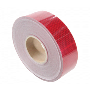 Reflecterende tape 50mm x 50mtr. rood E-keur