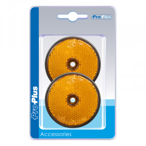 Reflector Oranje rond 60mm schroef (2) blister
